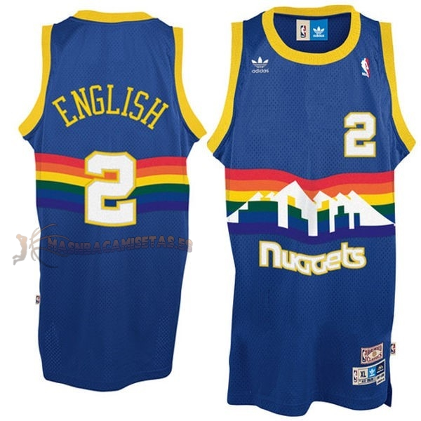 De Alta Calidad Camisetas NBA Denver Nuggets 2 Alex English Azul