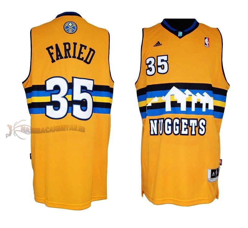 De Alta Calidad Camisetas NBA Denver Nuggets 35 Kenneth Faried Amarillo