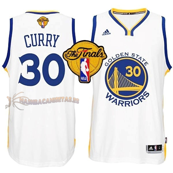 De Alta Calidad Camisetas NBA Golden State Warriors Finales 30 Curry Blanco