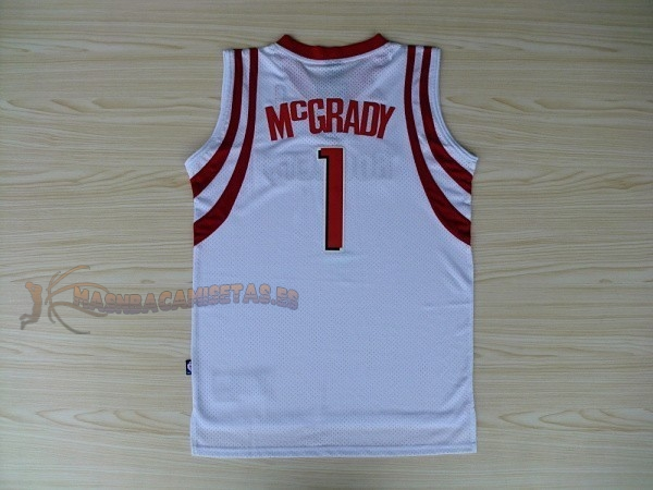 De Alta Calidad Camisetas NBA Houston Rockets 1 Tracy McGrady Blanco