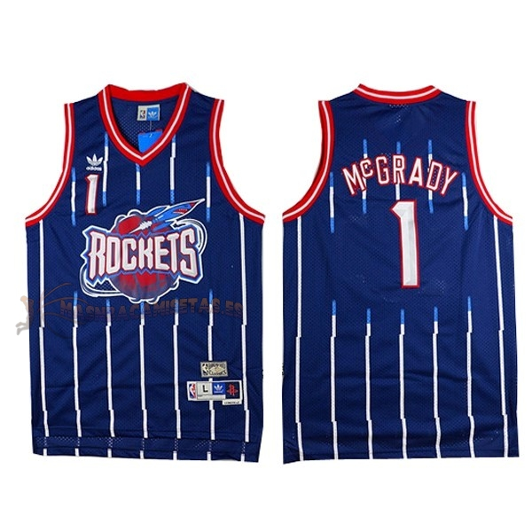 De Alta Calidad Camisetas NBA Houston Rockets 1 Tracy McGrady Retro Azul