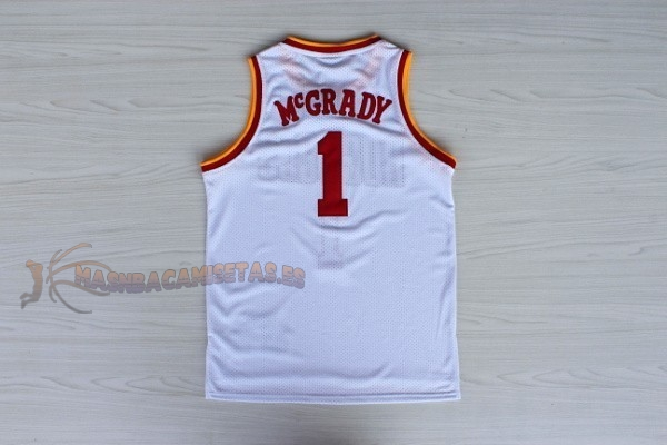 De Alta Calidad Camisetas NBA Houston Rockets 1 Tracy McGrady Retro Blanco