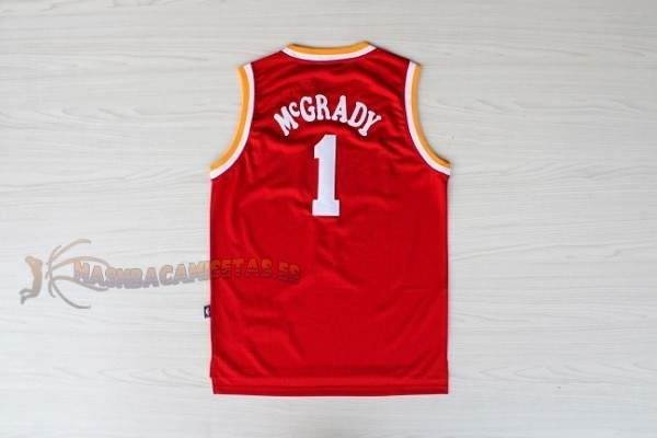 De Alta Calidad Camisetas NBA Houston Rockets 1 Tracy McGrady Retro Rojo