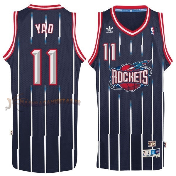 De Alta Calidad Camisetas NBA Houston Rockets 11 Yao Ming Retro Azul