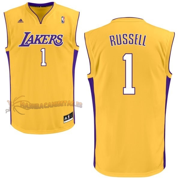 De Alta Calidad Camisetas NBA Los Angeles Lakers 1 D'Angelo Russell Amarillo