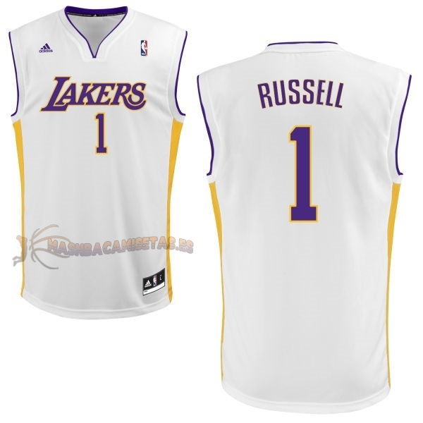 De Alta Calidad Camisetas NBA Los Angeles Lakers 1 D'Angelo Russell Blanco