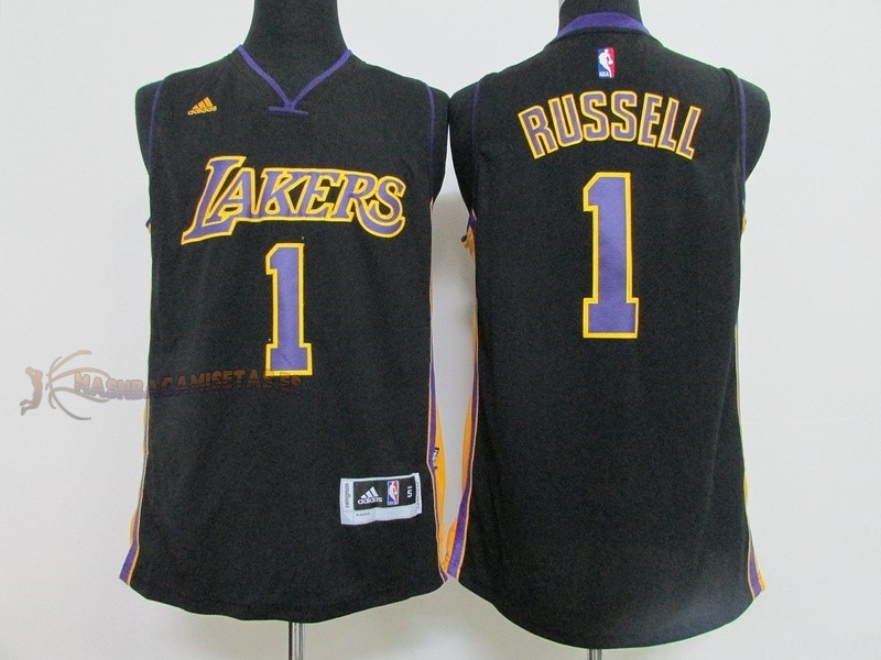 De Alta Calidad Camisetas NBA Los Angeles Lakers 1 D'Angelo Russell Negro