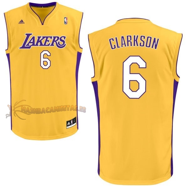 De Alta Calidad Camisetas NBA Los Angeles Lakers 6 Jordan Clarkson Amarillo
