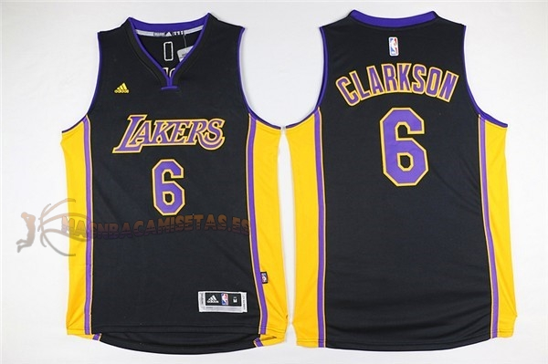 De Alta Calidad Camisetas NBA Los Angeles Lakers 6 Jordan Clarkson Negro