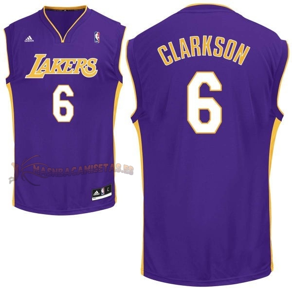 De Alta Calidad Camisetas NBA Los Angeles Lakers 6 Jordan Clarkson Púrpura