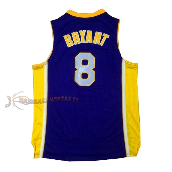 De Alta Calidad Camisetas NBA Los Angeles Lakers 8 Kobe Bryant Púrpura Amarillo