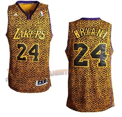 De Alta Calidad Camisetas NBA Los Angeles Lakers Luz Leopardo 24 Bryant Dorado