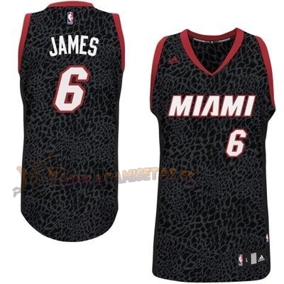 De Alta Calidad Camisetas NBA Miami Heat Luz Leopardo 6 James Negro
