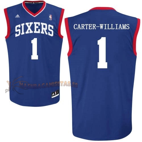 De Alta Calidad Camisetas NBA Philadelphia Sixers 1 Michael Carter Williams Azul