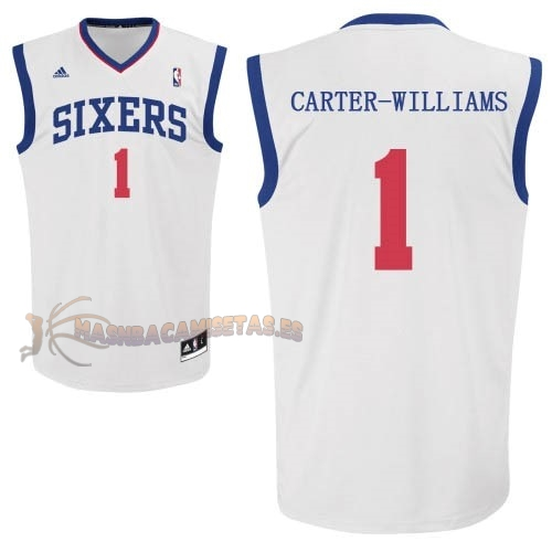 De Alta Calidad Camisetas NBA Philadelphia Sixers 1 Michael Carter Williams Blanco