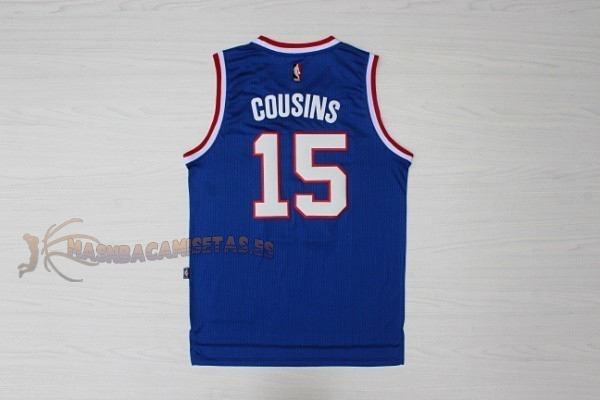 De Alta Calidad Camisetas NBA Sacramento Kings 15 DeMarcus Cousins Retro Azul
