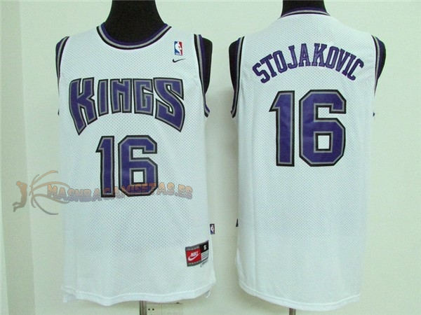 De Alta Calidad Camisetas NBA Sacramento Kings 16 Peja Stojakovic Retro Blanco