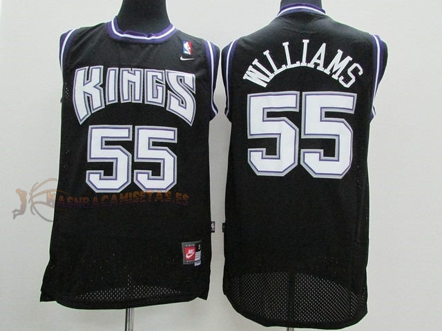 De Alta Calidad Camisetas NBA Sacramento Kings 55 Jason Williams Negro
