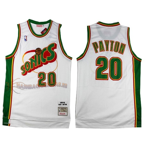 De Alta Calidad Camisetas NBA Seattle Supersonics 20 Gary Payton Retro Blanco