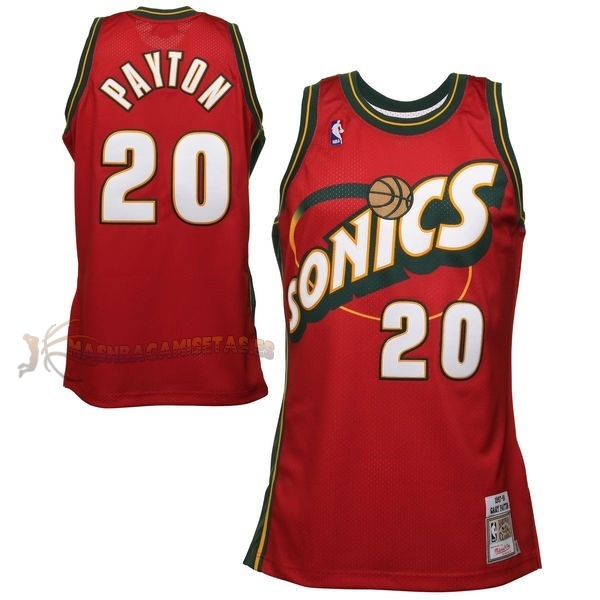 De Alta Calidad Camisetas NBA Seattle Supersonics 20 Gary Payton Retro Rojo
