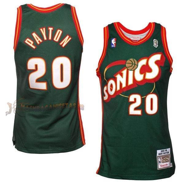 De Alta Calidad Camisetas NBA Seattle Supersonics 20 Gary Payton Retro Verde