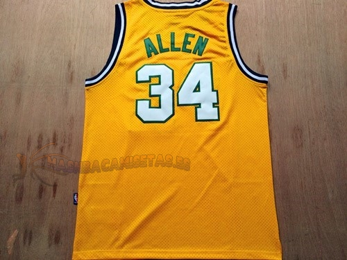 De Alta Calidad Camisetas NBA Seattle Supersonics 34 Ray Allen Retro Amarillo