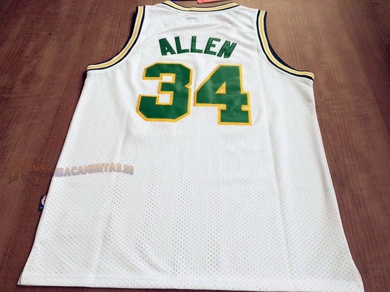 De Alta Calidad Camisetas NBA Seattle Supersonics 34 Ray Allen Retro Blanco