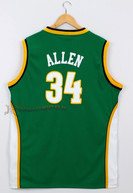De Alta Calidad Camisetas NBA Seattle Supersonics 34 Ray Allen Verde