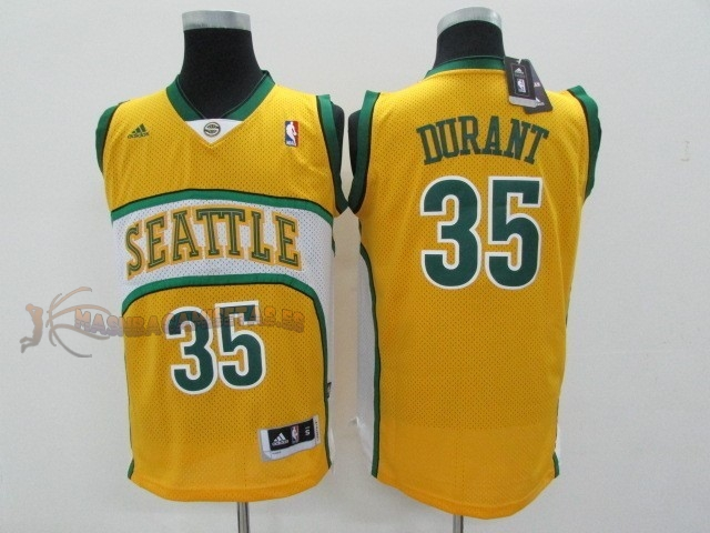 De Alta Calidad Camisetas NBA Seattle Supersonics 35 Kevin Durant Amarillo