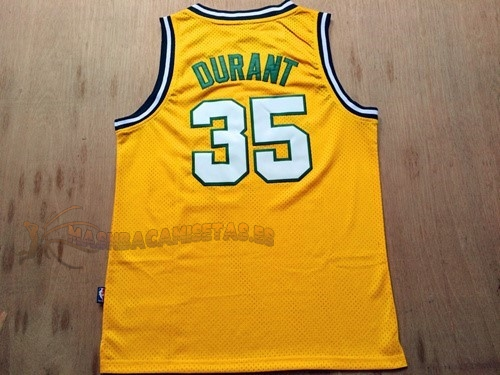 De Alta Calidad Camisetas NBA Seattle Supersonics 35 Kevin Durant Retro Amarillo