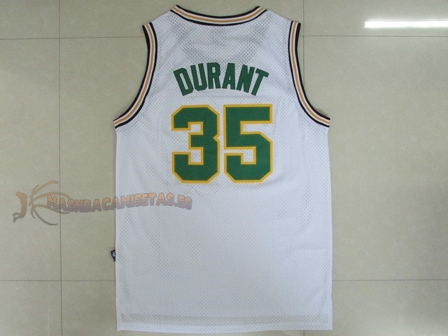 De Alta Calidad Camisetas NBA Seattle Supersonics 35 Kevin Durant Retro Blanco