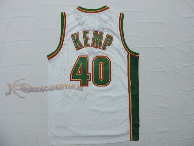 De Alta Calidad Camisetas NBA Seattle Supersonics 40 Shawn Kemp Retro Blanco