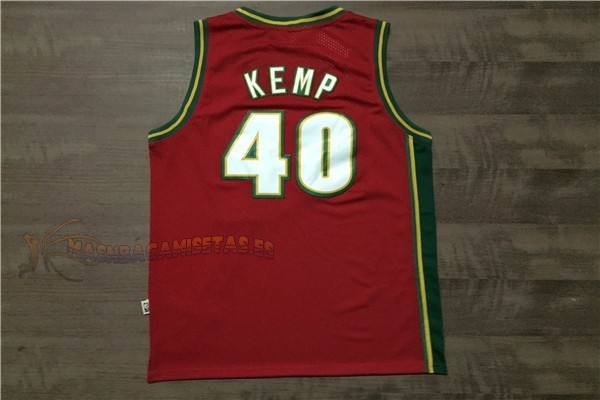 De Alta Calidad Camisetas NBA Seattle Supersonics 40 Shawn Kemp Retro Rojo