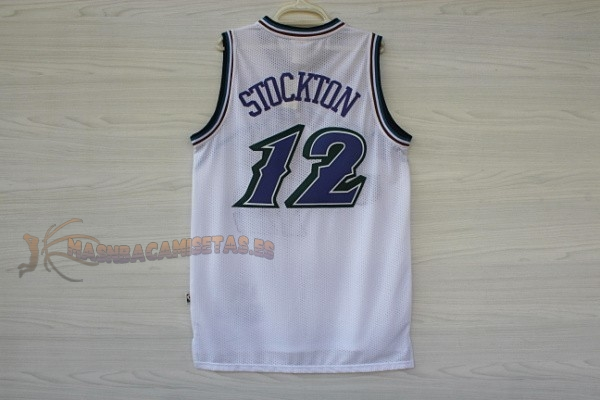 De Alta Calidad Camisetas NBA Utah Jazz 12 John Stockton Blanco