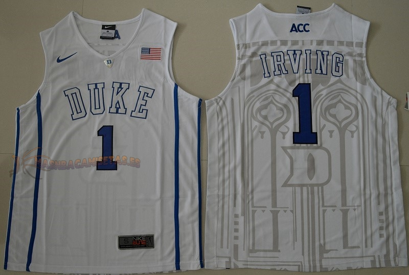 De Alta Calidad Camisetas NCAA Duke 1 Kyrie Irving Blanco
